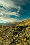 山、湖和valey的看法在一个晴天从登上 库存图片