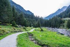 山、谷和峰顶环境美化,自然环境 阿尔卑斯高涨 库存照片
