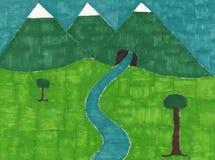 山、领域和来自山的河 免版税库存照片