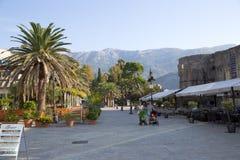 黑山。城堡在Perast 库存照片