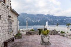 黑山。小岛我们的岩石的夫人 免版税库存照片