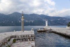 黑山。小岛我们的岩石的夫人 免版税库存图片