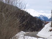 山一个美妙的风景  库存照片