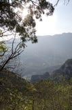 山上方山黄色山,中国的全球性Geopark 免版税图库摄影