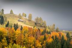 山与五颜六色的森林的秋天横向 库存图片