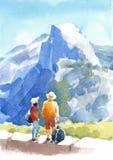 山与人水彩手画自然的例证的优胜美地国家公园风景 向量例证