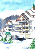 山与雪的滑雪胜地在冬天 额嘴装饰飞行例证图象其纸部分燕子水彩 图库摄影