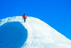 登山人在一个多雪的山顶顶部 免版税库存图片