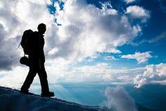 登山人在勃朗峰 库存照片