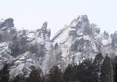 山储备克拉斯诺亚尔斯克柱子 免版税库存图片