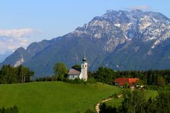山全景在阿尔卑斯 库存照片