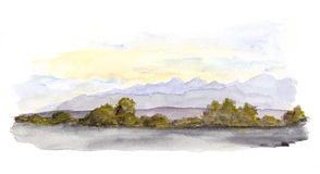 山全景风景视图 画开花的河结构树水彩绕的银行 库存图片