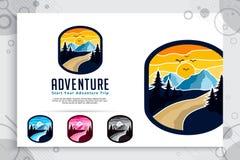 山冒险与徽章构思设计的传染媒介商标 模板例证山作为探险家狂放的自然的标志 库存例证