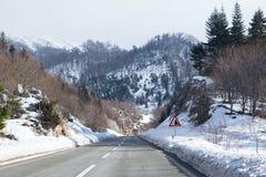 山冬天路 图库摄影