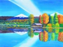 山和天空的反射在湖油画在帆布 免版税库存图片