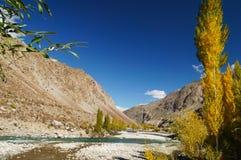 山和小河在Phandar谷,北巴基斯坦附近 免版税库存照片