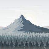 山和杉木森林背景 也corel凹道例证向量 免版税库存图片