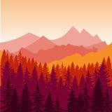 山和森林剪影全景在初期使日落环境美化 平的设计传染媒介 免版税库存照片