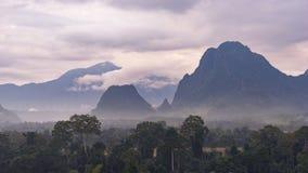 山和森林有薄雾的 免版税库存照片