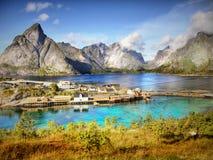 山和海湾风景,挪威 免版税库存照片