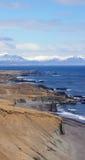 山和海滩在东部海湾在冰岛 免版税库存照片