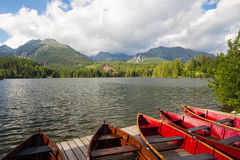 山和湖视图的日落 免版税库存照片