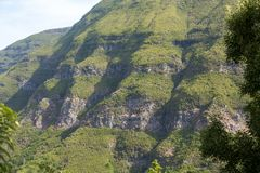 山和雨林小山美丽如画的空中全景在马德拉岛海岛上, 免版税库存照片