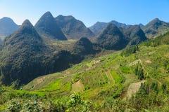 山和风景在河江市,北越南 库存照片