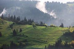山和暴风云早晨 免版税图库摄影