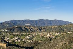 山和Altadena地区的鸟瞰图 免版税库存照片
