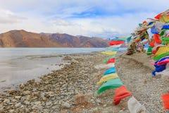 山和Pangong tso湖 免版税库存照片