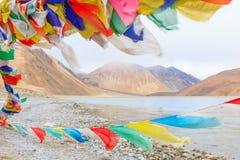 山和Pangong tso湖 免版税库存图片