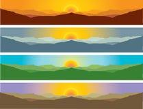山在四个季节的风景风景 免版税库存图片