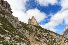 山在塞斯托白云岩的Toblinger Knoten,南蒂罗尔 图库摄影
