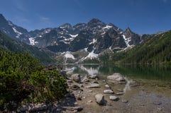 山在山湖的清楚的水中反映 免版税库存图片