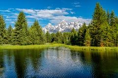 山在有反射的大蒂顿国家公园在斯内克河 库存图片