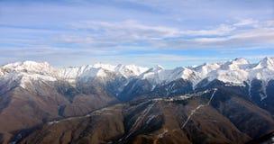 山在Krasnaya Polyana。索契。俄罗斯。 免版税库存图片