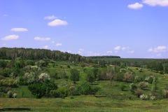 山坡的一点农场 库存照片