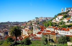 山坡里斯本葡萄牙 免版税库存照片