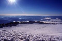 山壮观的顶视图 库存照片