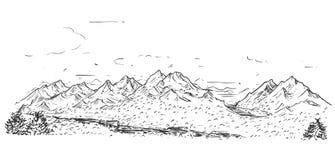 山多小山岩石风景概略图画  皇族释放例证
