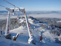 山多雪的顶层 图库摄影