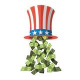 山姆大叔帽子和金钱 美国帽子 帽子为独立日 免版税库存图片