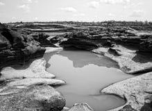 山姆平底锅Bok大峡谷,惊奇岩石在湄公河 免版税库存照片