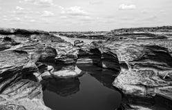 山姆平底锅Bok大峡谷,惊奇岩石在湄公河 免版税图库摄影