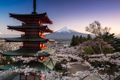 山富士和有樱花的Chureito塔看法在春天,吉田市,日本 免版税库存图片