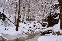 山小河在冬天 免版税库存图片