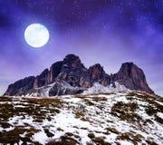 山小组Sassolungo Langkofel夜 南蒂罗尔,意大利 库存照片
