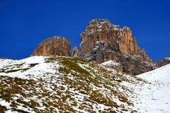山小组Sassolungo Langkofel 南蒂罗尔,意大利 图库摄影