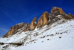 山小组Sassolungo Langkofel 南蒂罗尔,意大利 免版税图库摄影